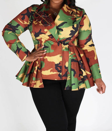 Posh Shoppe: Plus Camo Print Long Sleeve V Neck Peplum Jacket W/ Mask Dress