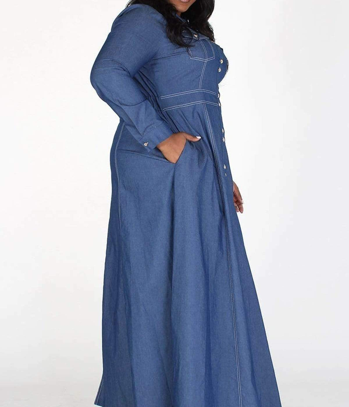 A-line Long Sleeve Denim Maxi Dress-Blue - Posh Shoppe