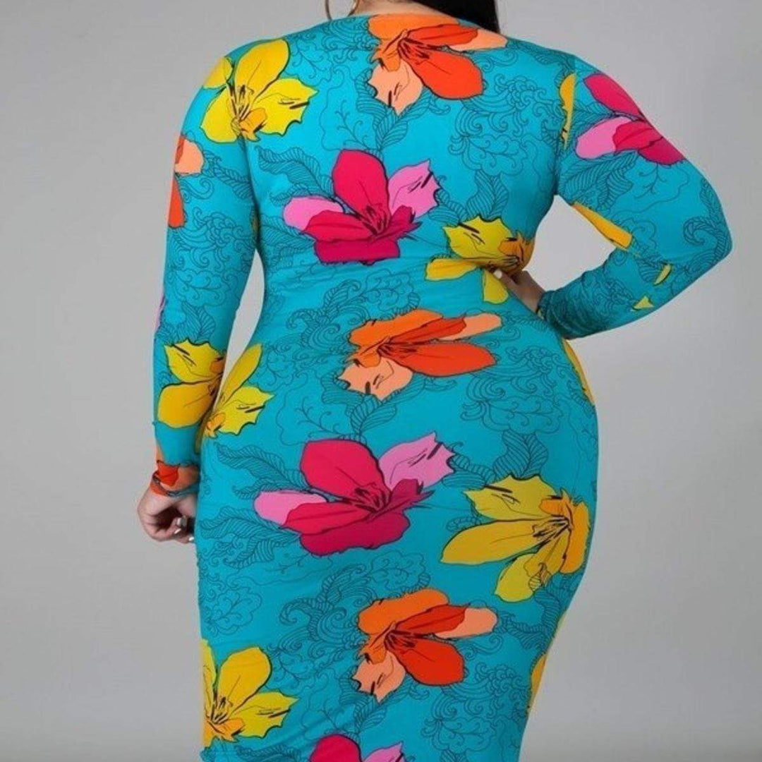 Colorful Flower Print Stretch Dress