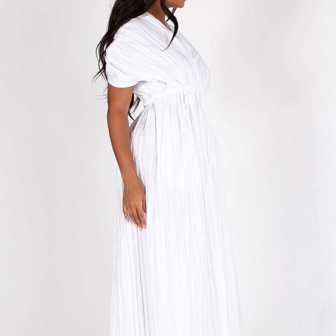 Pleated Short Sleeve Maxi Dress
