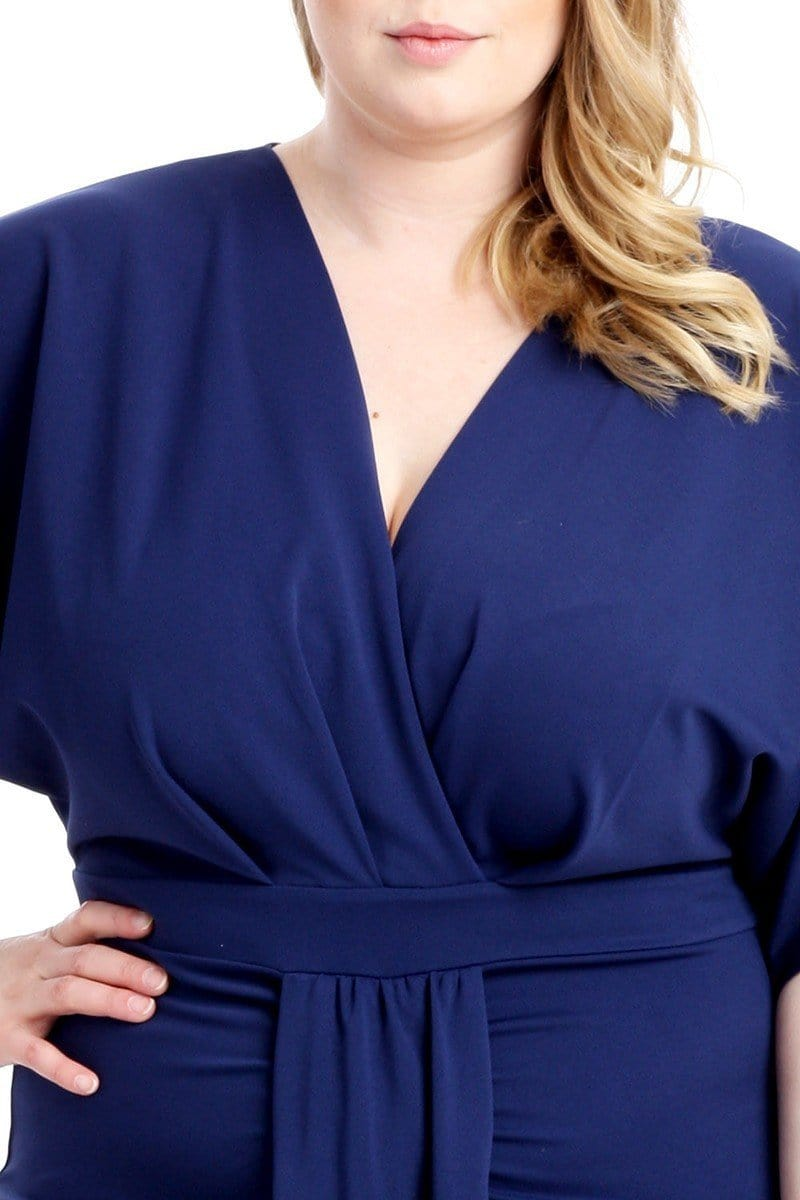 Posh Shoppe: Plus Size Draped Kimono Dress, Royal Blue Dress