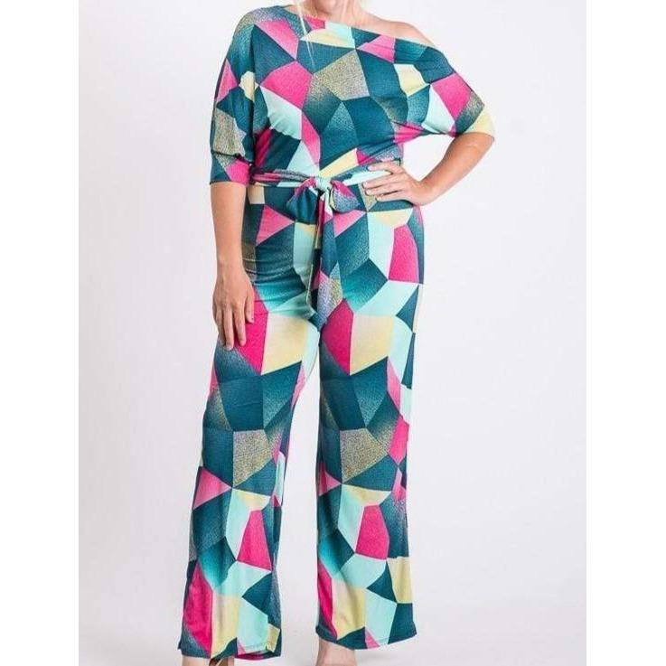 Print jump suit o shoulder down