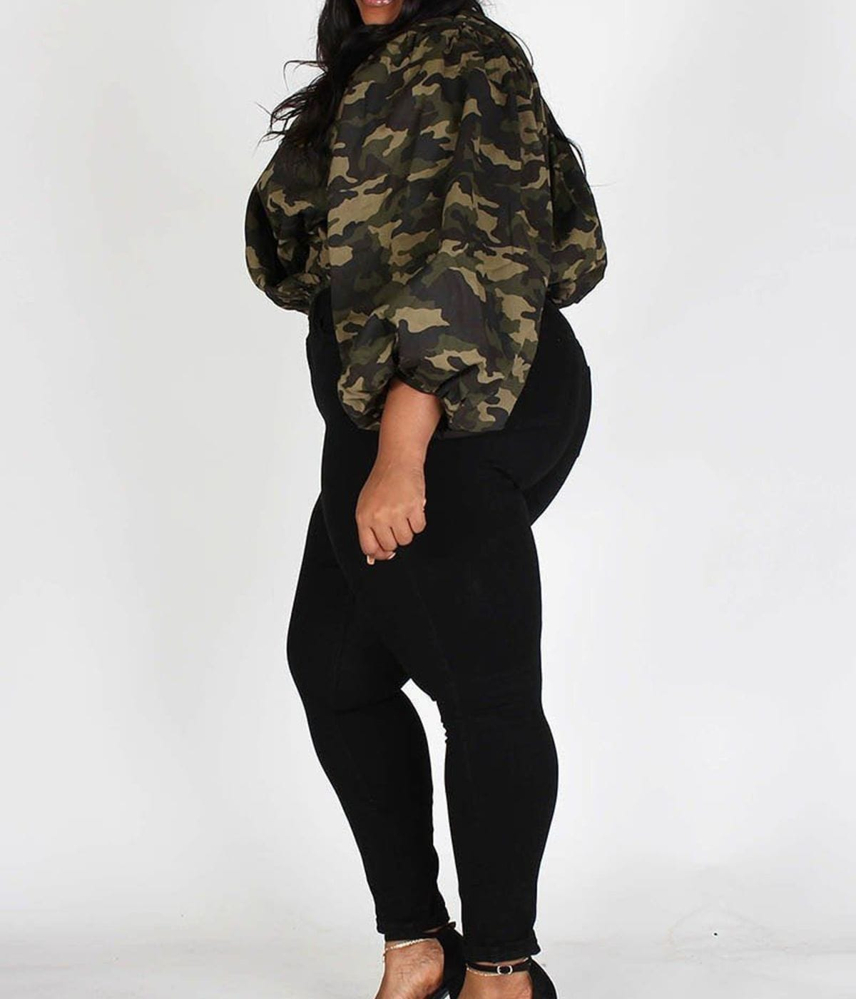 Posh Shoppe: Plus Army Print, Bubble Sleeve, Lined Cropped Top Dress