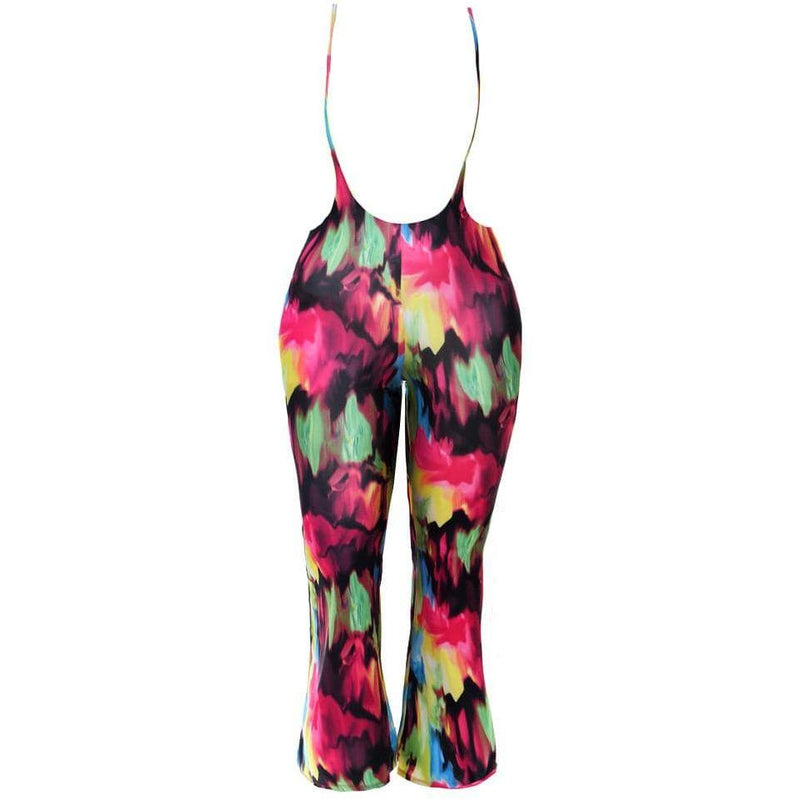 Plus Size Tie Front Cropped Tee and Flared Pants Set, Tie Dye