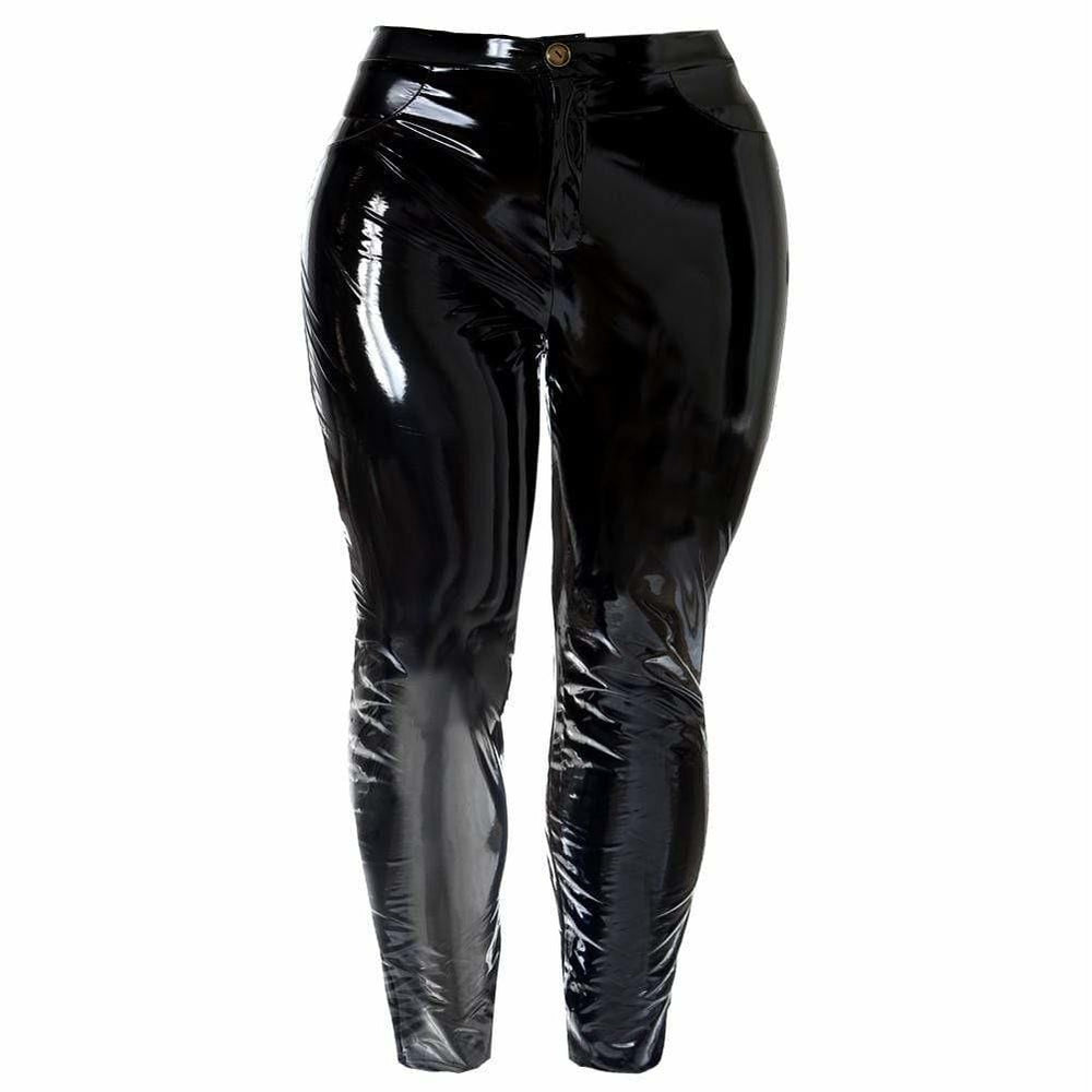 Posh Shoppe: Plus Size Patent Pants, Black Bottoms