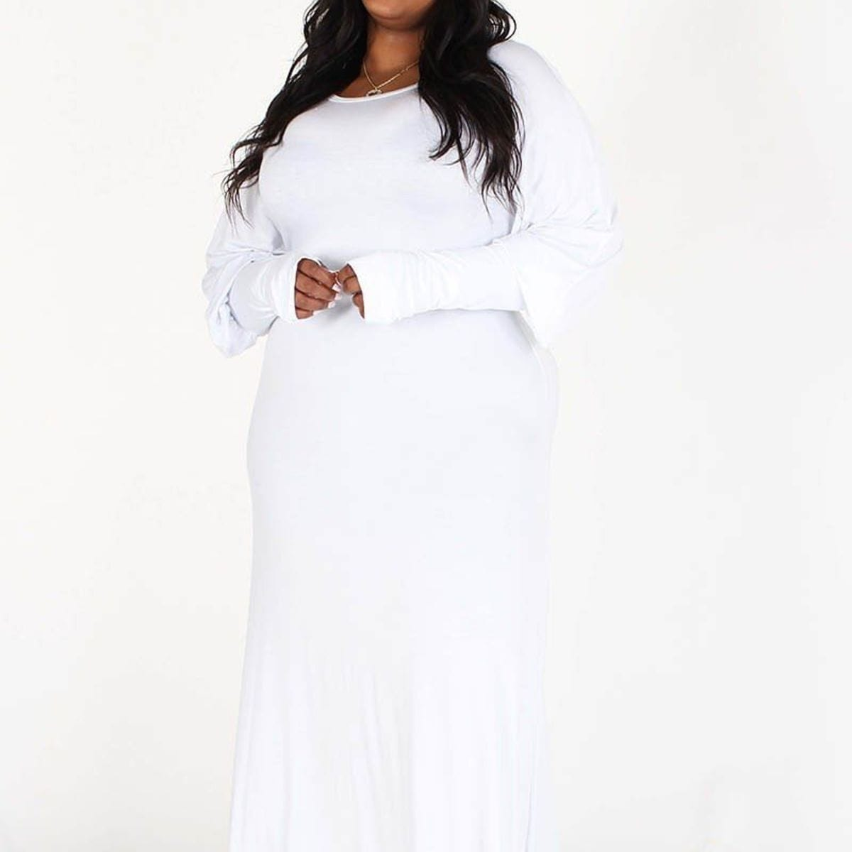 PLUS Long bubble sleeves with extended cuffs and thumbhole, round Neck