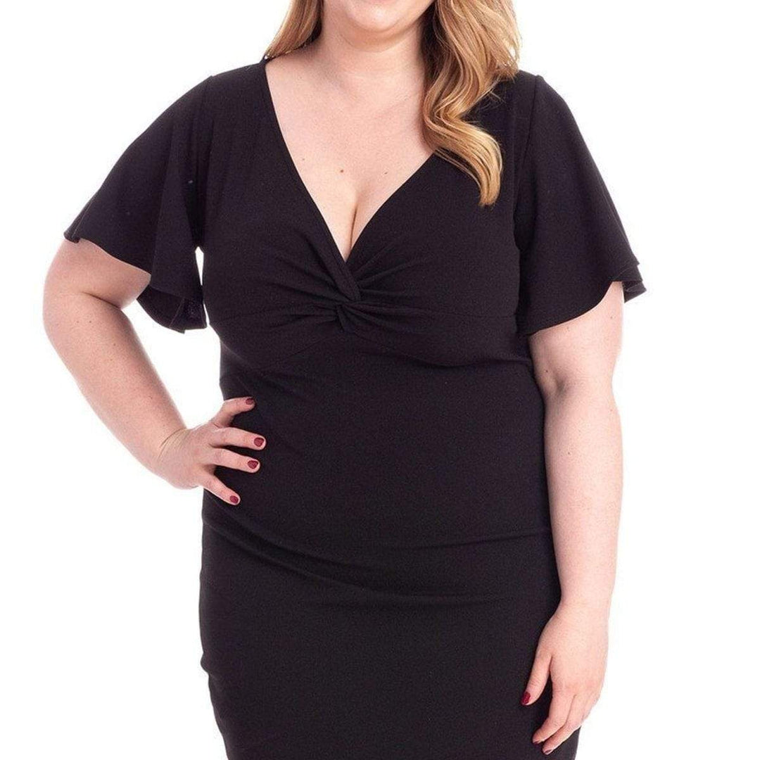 Tie-Knot V-neck Plus Size Mini Dress