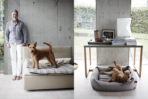 DOG BED SLEEPY ORGANIC CANVAS STONE GREY - Lavish Tails
