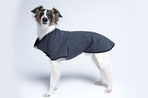 DOG SWEATER DEVON HERRINGBONE GRAY / DARK BLUE - Lavish Tails