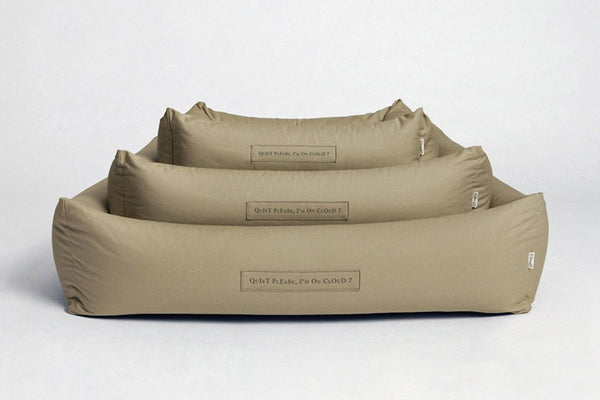 DOG BED SLEEPY ORGANIC CANVAS SAND - Lavish Tails