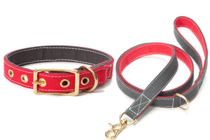 Canvas Dog Lead Red/Grey - Lavish Tails