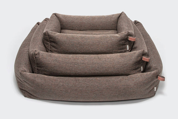 Dog Bed Sleepy Herringbone Brown - Lavish Tails