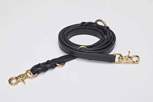 DOG LEASH HYDE PARK BRAIDED LEATHER BLACK - Lavish Tails