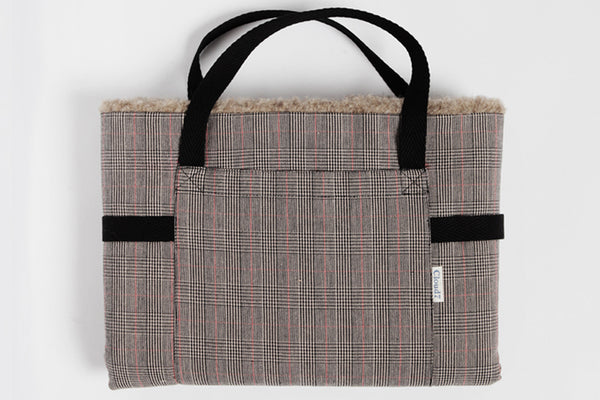 TRAVEL BED PLAID/BROWN WOOL - Lavish Tails