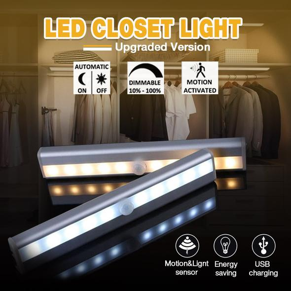 LED Under Cabinet Light  PIR LED Motion Sensor Lamp 10 LEDs lighting for Wardrobe Cupboard Closet Stairs Kitchen night light