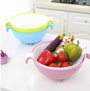 Multifunctional Washing Vegetables And Fruit Draining Basket Detachable Double Layer Drain Baskets Storage Salad Bowl 4 Colors
