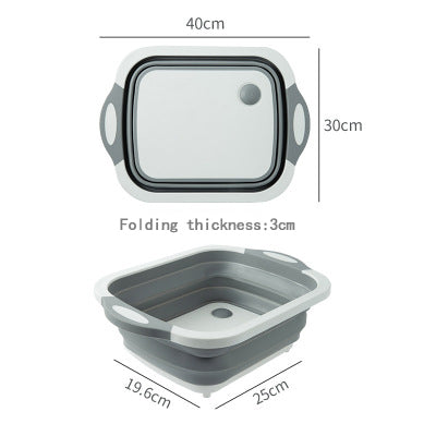 Foldable Drain Basket Vegetable Washing Basket Strainer Collapsible Dish Tub Cutting Board With Draining Plug Chopping board