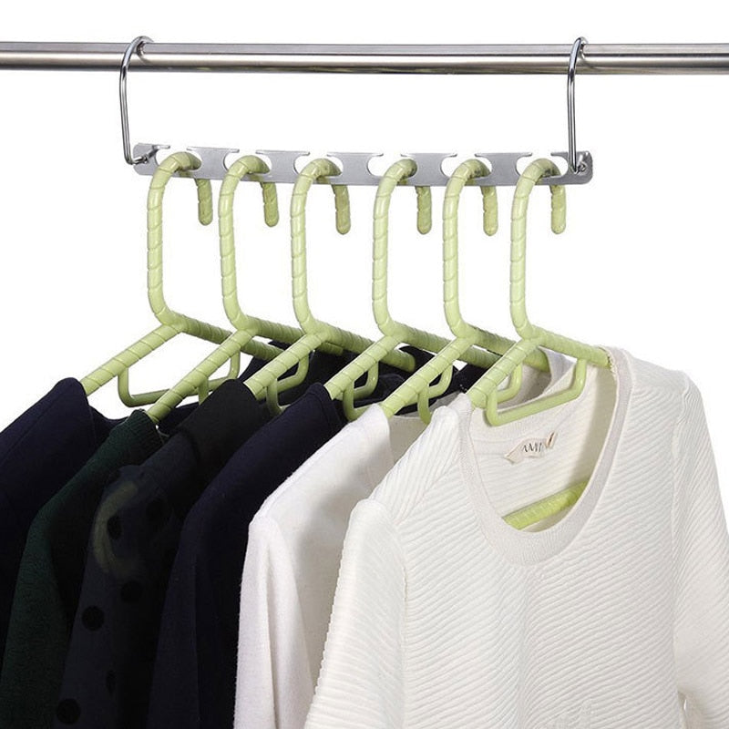 Multifunction Metal Hanger 6 Holes Clothes Rack Organizer Space Saving Scarf Organizer Clothe Drying Rack Magic Closet Hangers