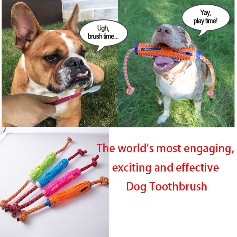 Dog Toothbrush Chew Toy Pet Brush Stick Soft Rubber Teeth Cleaning Toothpaste For All Dogs Tooth Effective Cleaning TeethTool