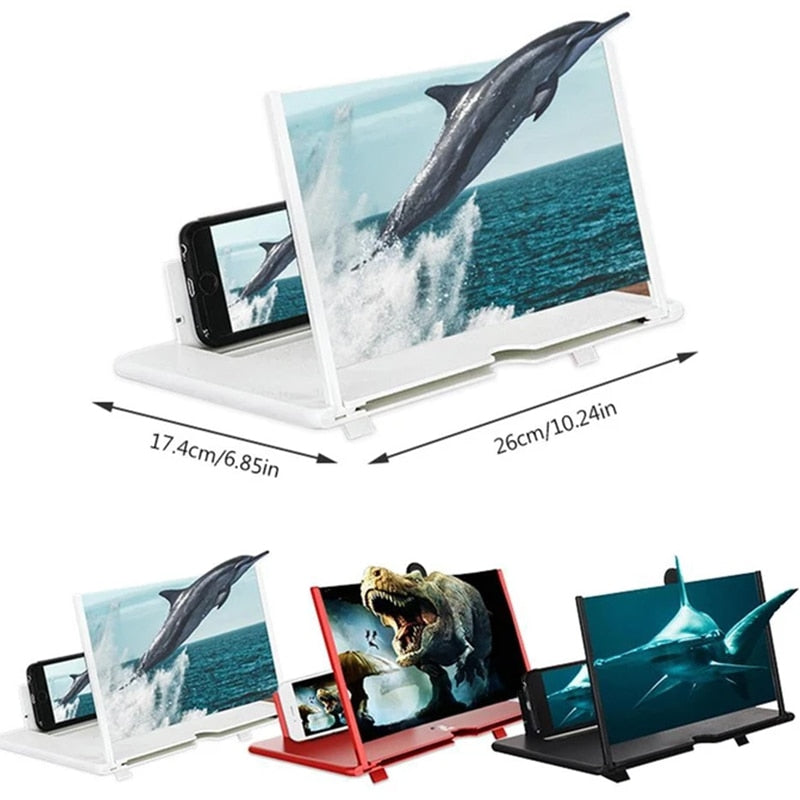 12 Inch HD Phone Screen Amplifier Hand-free 3D Video Mobile Phone Magnifying Folding HD Video Stand for Smartphones Dropshipping