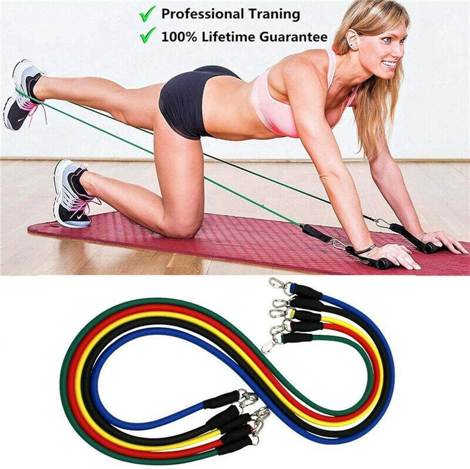 11 Pcs/Set Latex Resistance Bands Crossfit Training Exercise Yoga Tubes Pull Rope Rubber Expander Elastic Bands Fitness with Bag