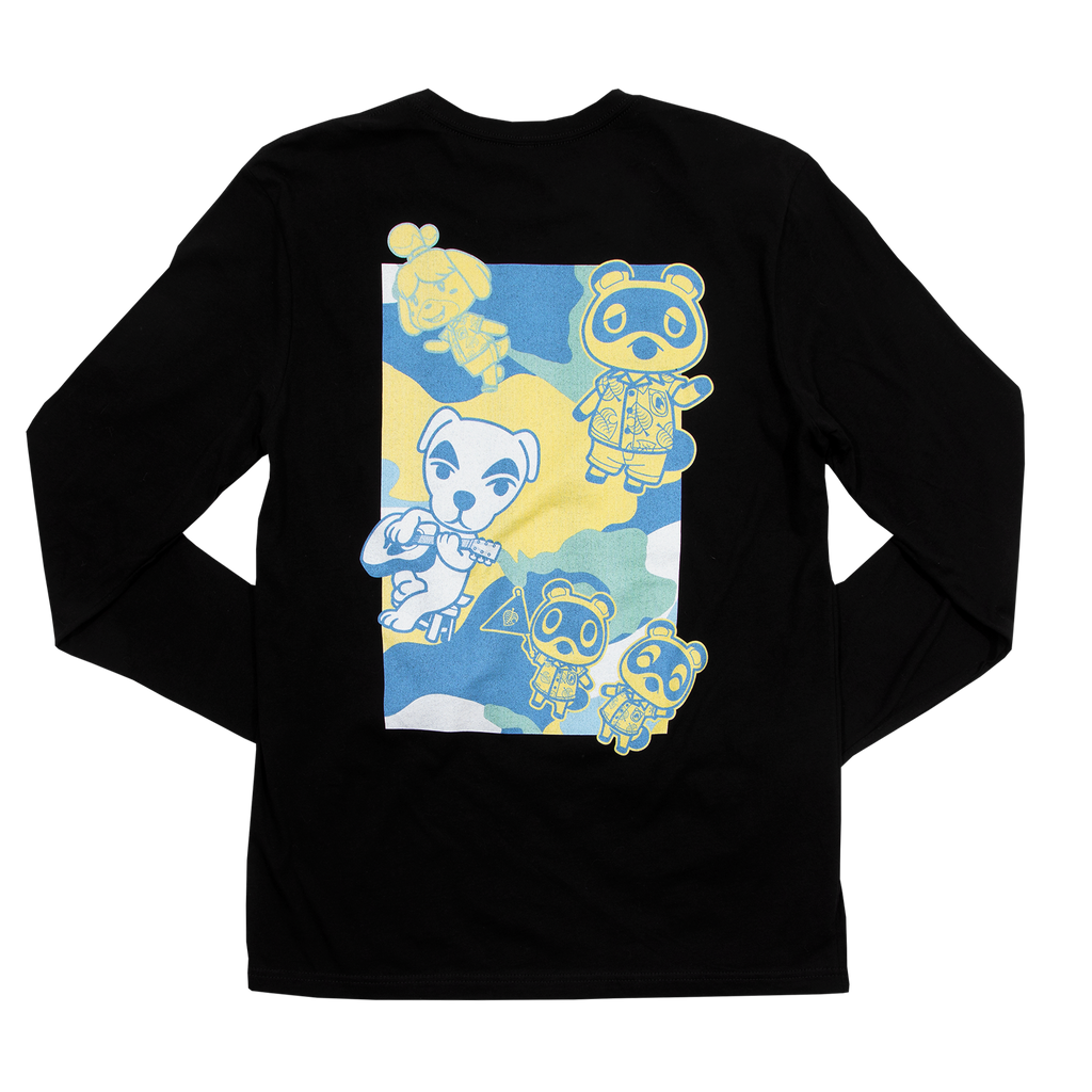 Animal Crossing New Horizons Colorful Camo Black Long Sleeve