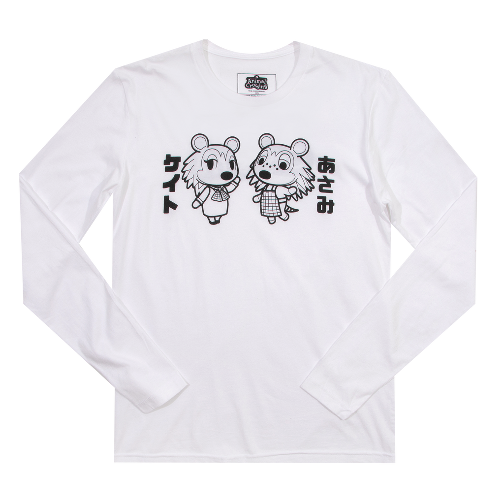 Animal Crossing Sisters Kanji White Long Sleeve