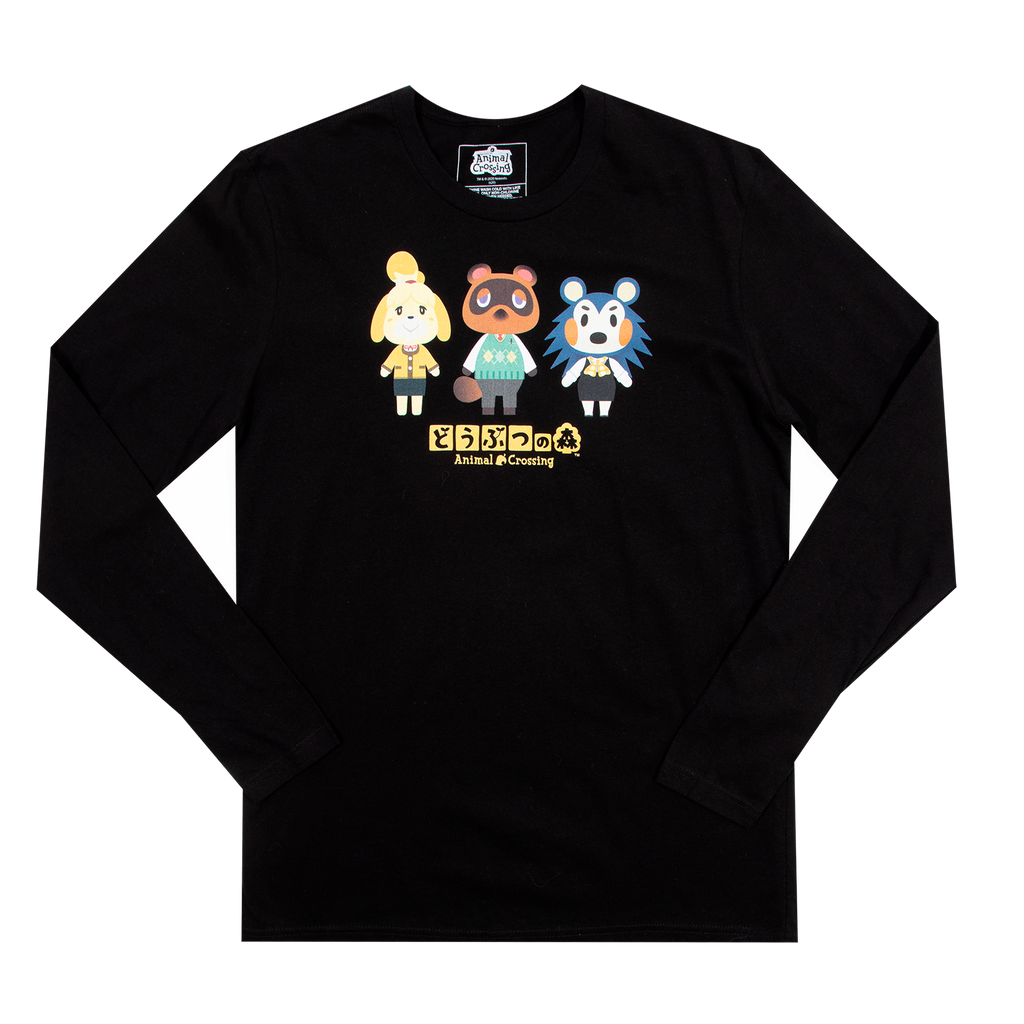 Animal Crossing Kanji Black Long Sleeve