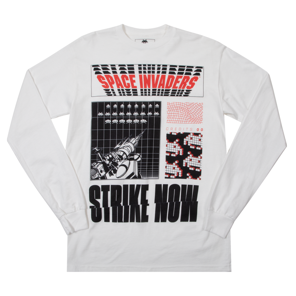 Space Invaders Strike Now White Long Sleeve