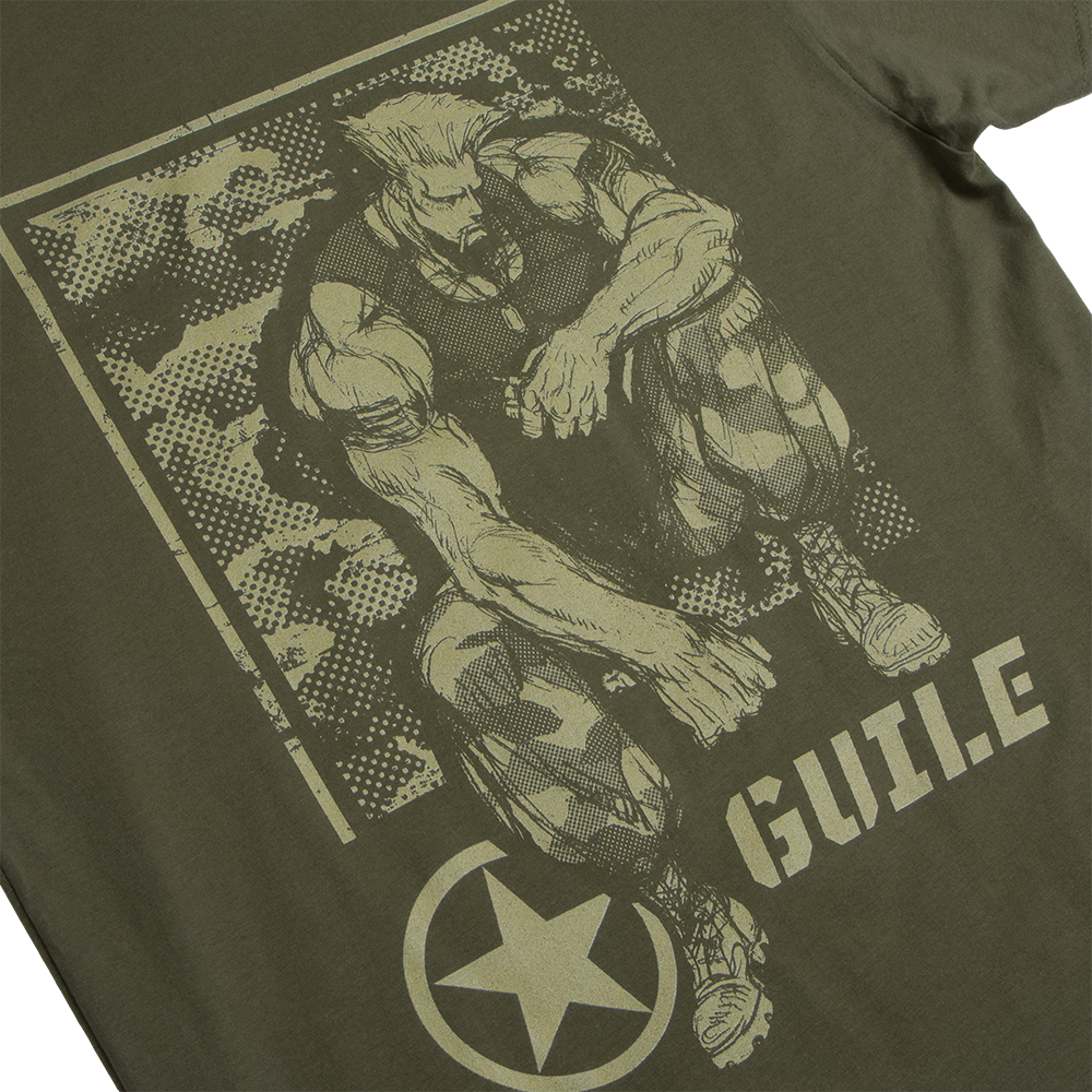 Street Fighter Guile American Soldier Green Tee
