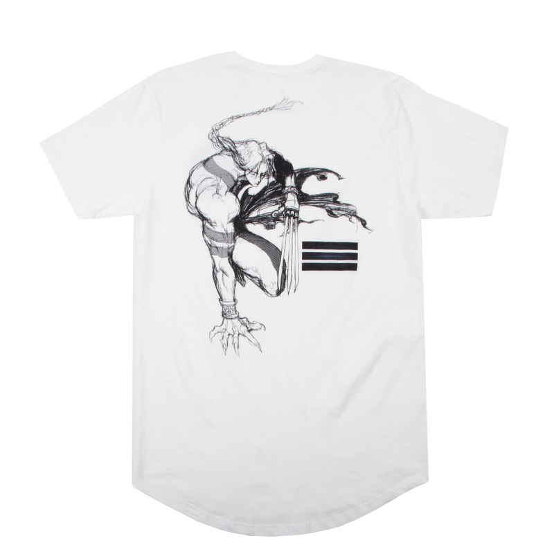 Street Fighter Vega Sketch White Long Hem Tee