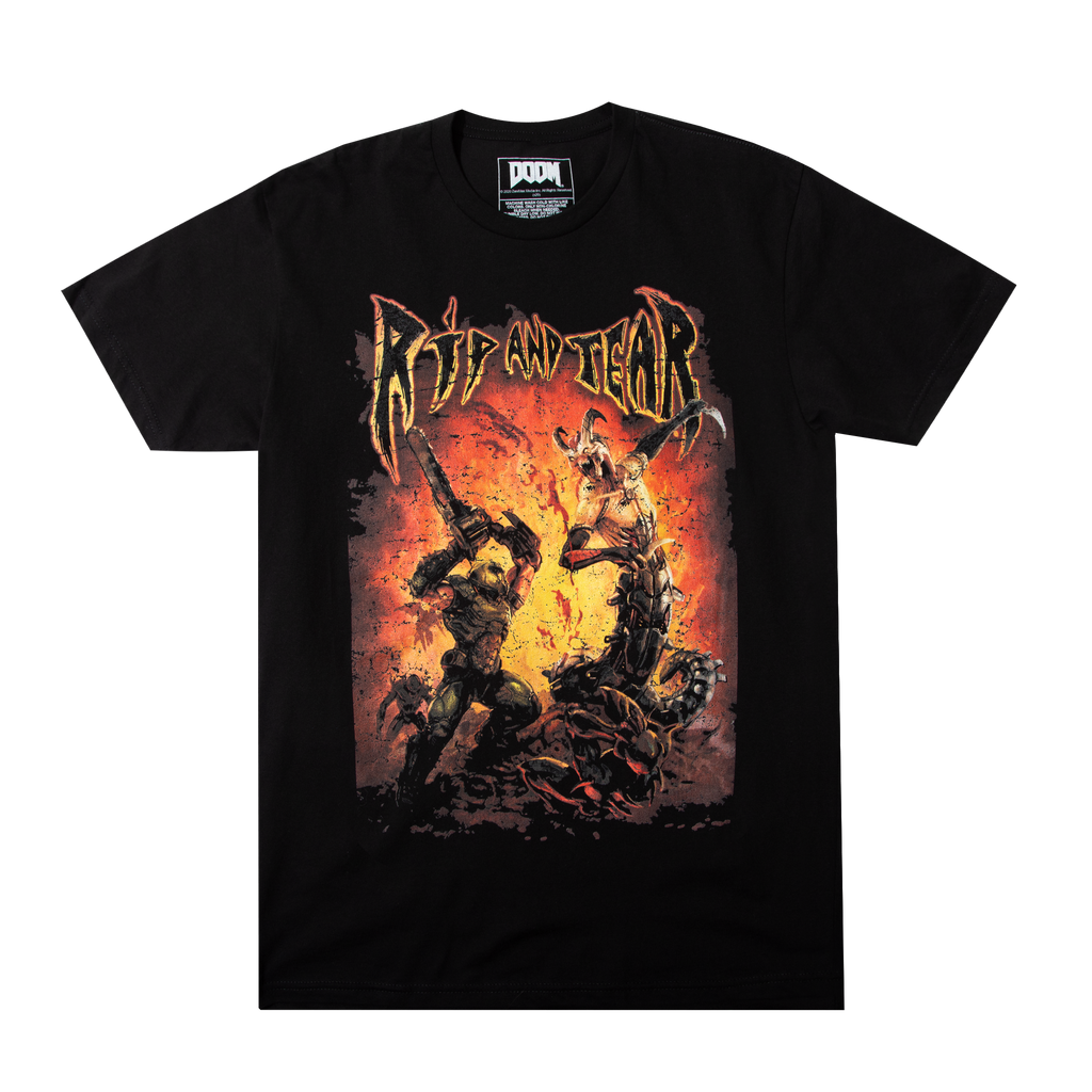 Doom Metal Rip & Tear Black Tee