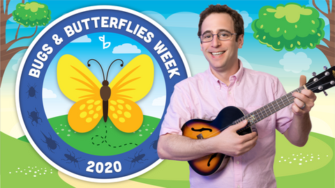 Bugs and Butterflies Online Activities for Kids Logo with Mr. David