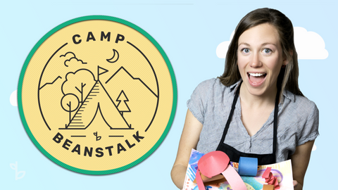Ms. Kelsey with the Camp Beanstalk Activity for Kids Logo