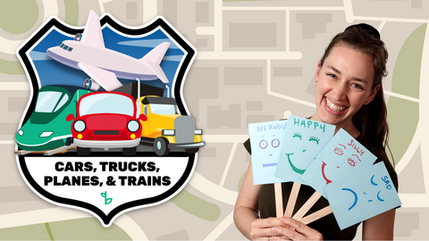Cars, Trucks, Planes, and Trains Online Activities for Kids Logo and Ms. Amalia