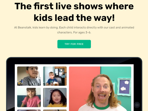 Screenshot of Beanstalk Interactive Kids Shows Home Page