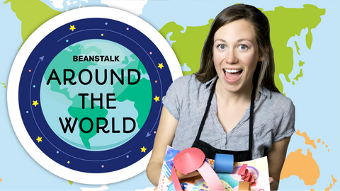 Around the World Online Activities for Kids Logo with Ms. Kelsey
