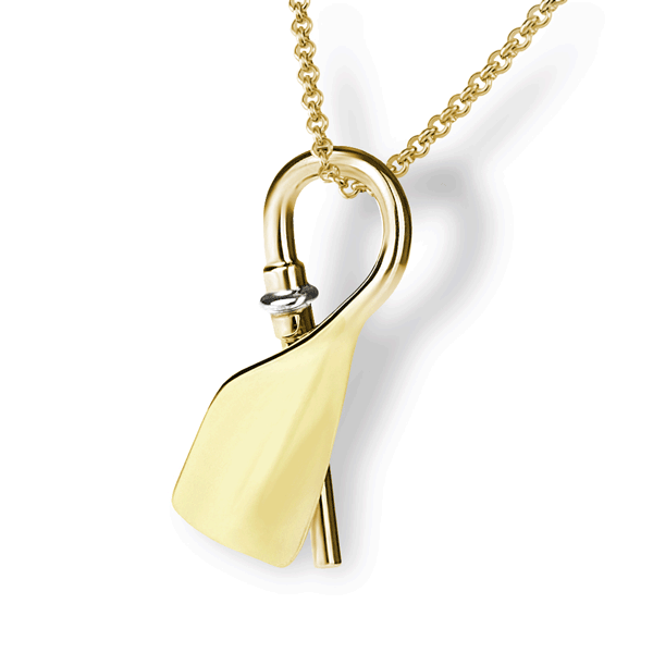14K Rowing Bent Oar Pendant