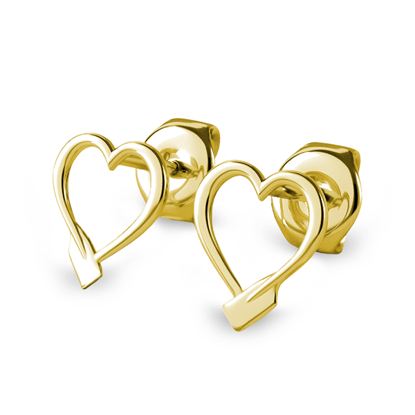 14K Rowing Heart Stud Earrings