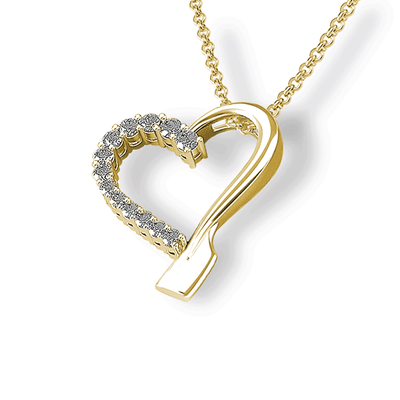 14k Gold Rowing Heart Diamond Pendant