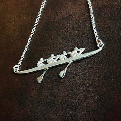 Rowing Four Necklace - Strokeside Designs Rowing jewelry- Rowing Gifts Ideas- Rowing Coach Gifts