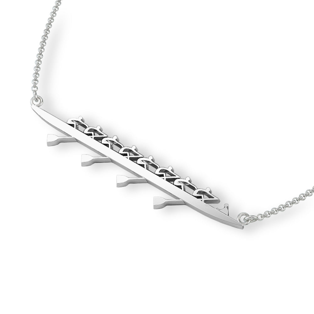 Rowing Eight Necklace w/Cox - Strokeside Designs Rowing jewelry- Rowing Gifts Ideas- Rowing Coach Gifts