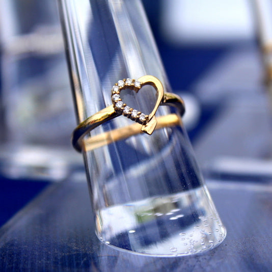 14k Gold Heart Shaped Diamond Rowing Ring