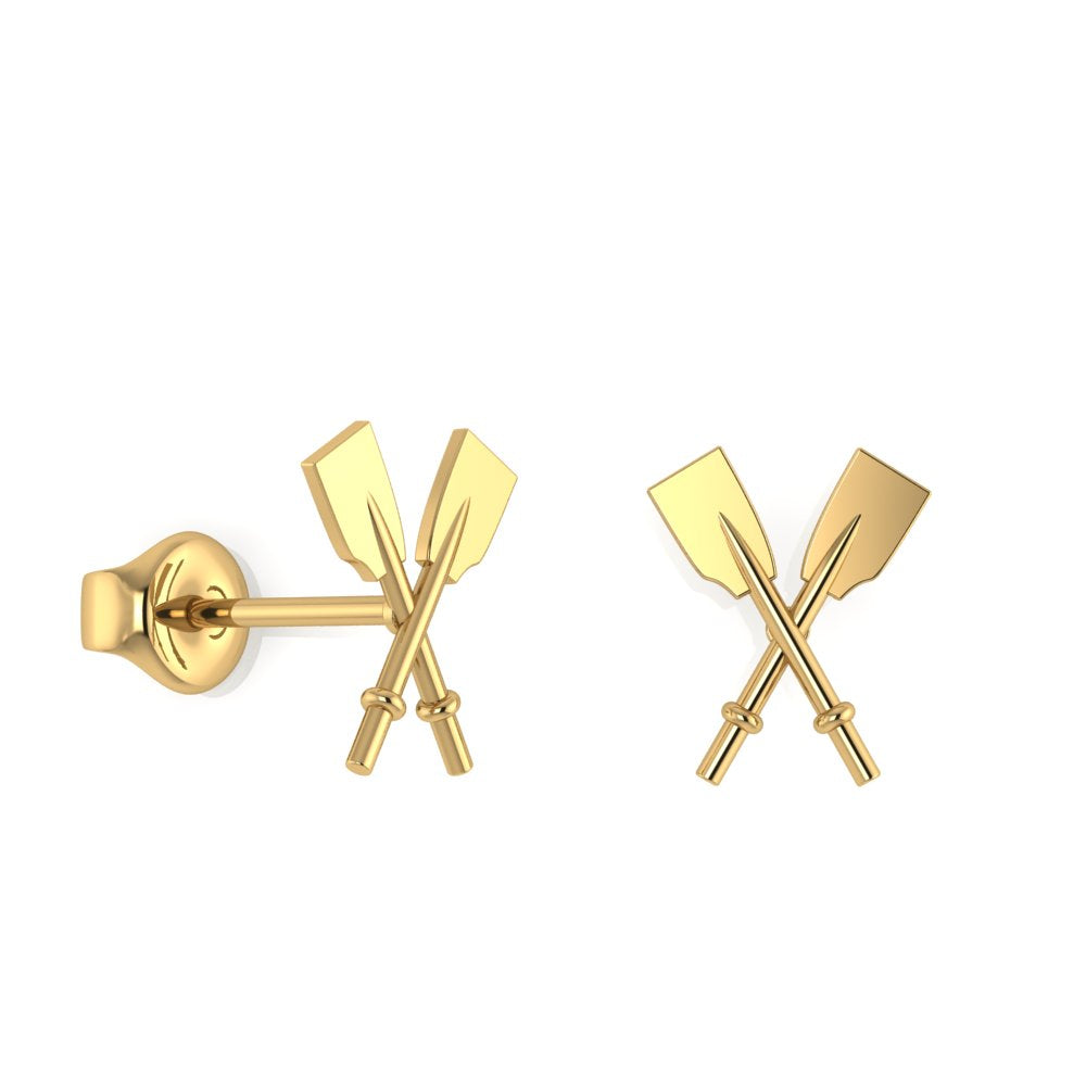 14K Crossed Oars Stud Earrings
