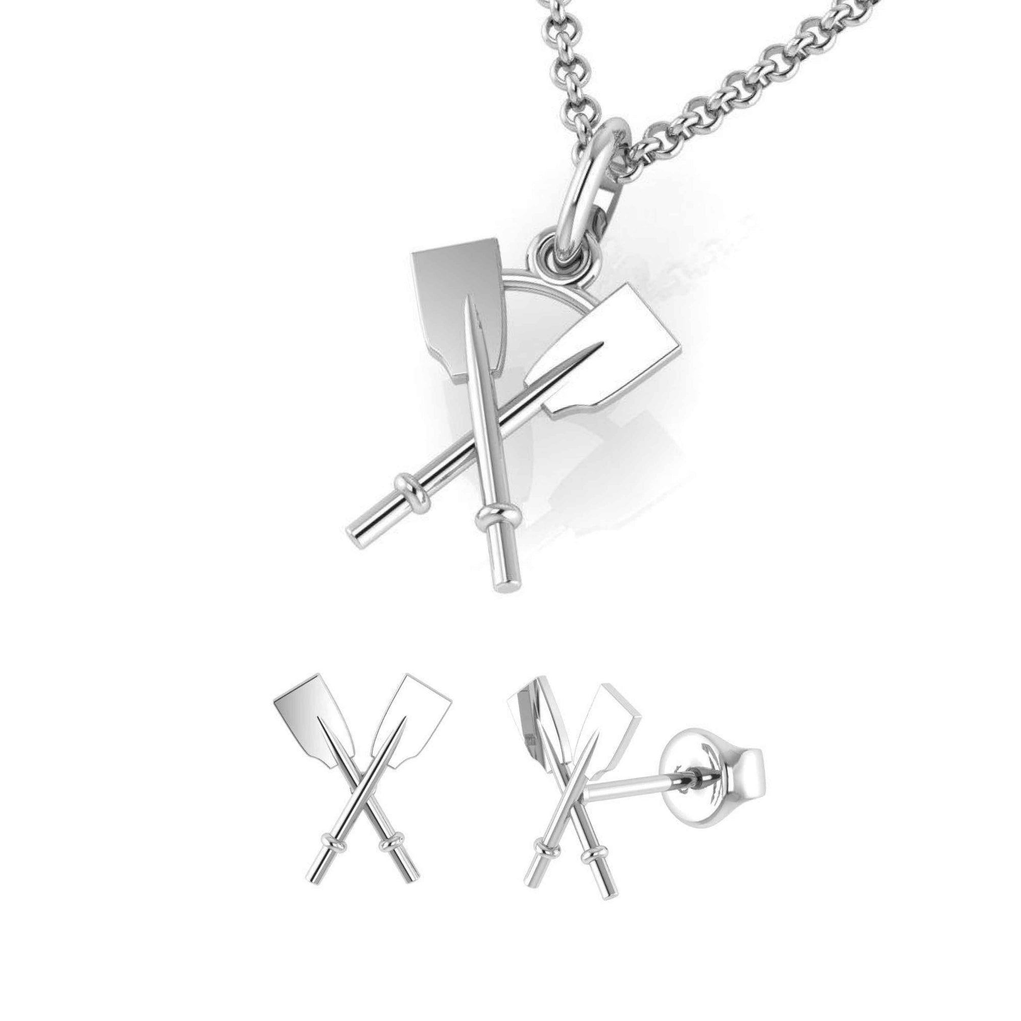 Crossed Oars Pendant and Earrings