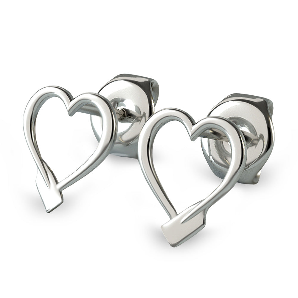 Rowing Heart Stud Earrings - Strokeside Designs Rowing jewelry- Rowing Gifts Ideas- Rowing Coach Gifts