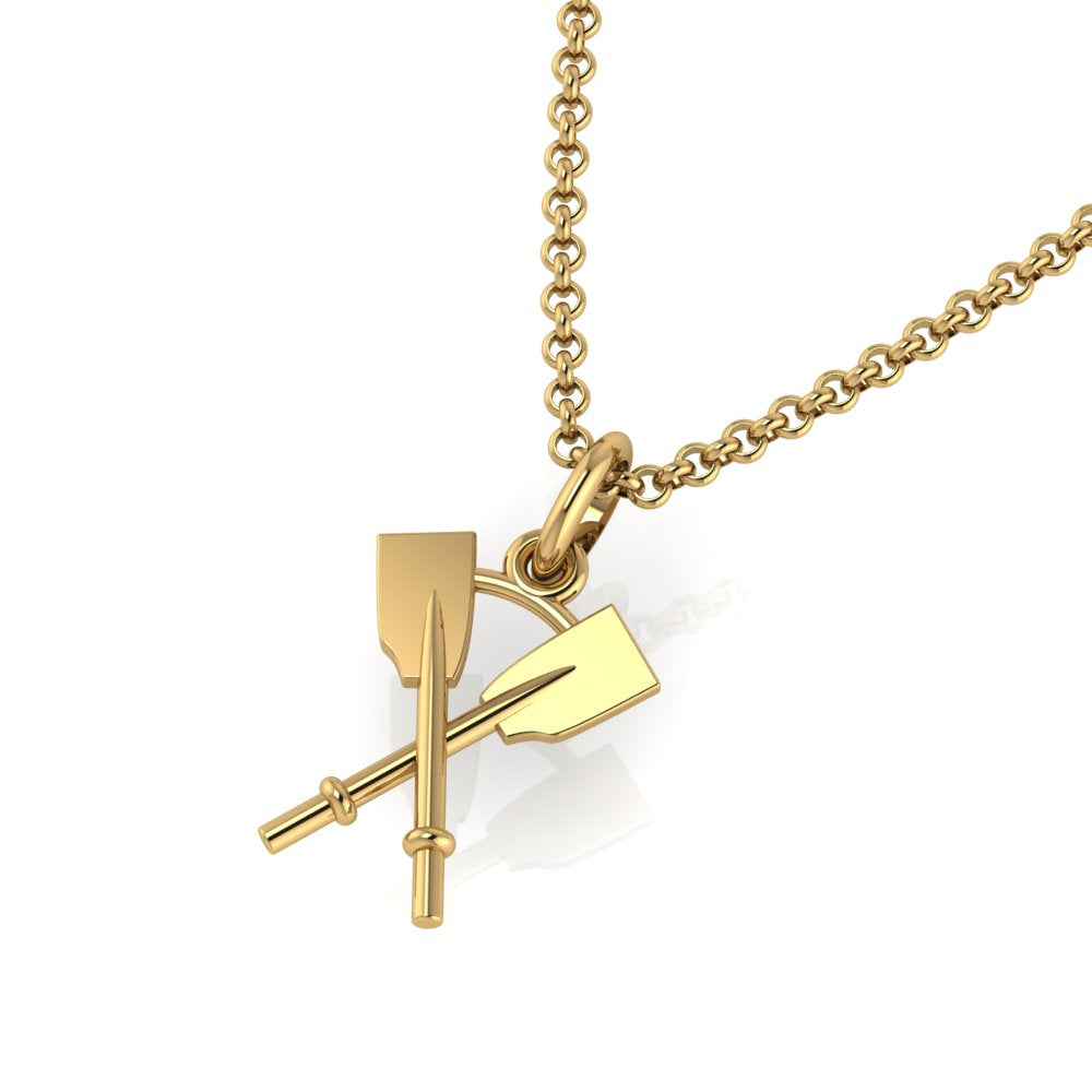 14K Crossed Oars Pendant