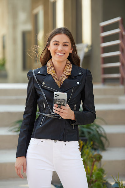 CROSSBODY Phone Wallet GREY PYTHON