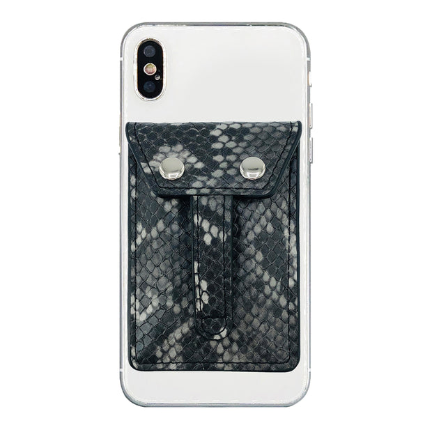 Wallet Phone Grip - GREY PYTHON