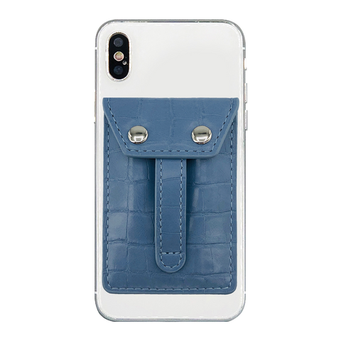 Wallet Phone Grip - Sky Croc Blue